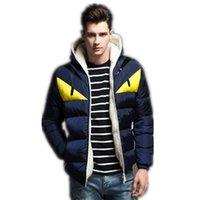 kışlık moda markası toptan satış-Marka Sonbahar ve Kış Erkek Tasarımcı ceketler Moda Renkli Eşleştirme Karikatür Baskılı Pamuk Coat Plus Size M-4XL