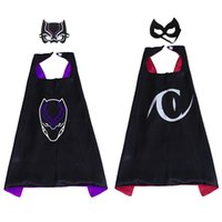 ingrosso cappello nero cosplay-27inch Cartoon Superhero Cosplay Mantella con maschera Set per bambini Black Panther Catwoman Costumi Cape Child Fancy Dress Birthday Party Favors