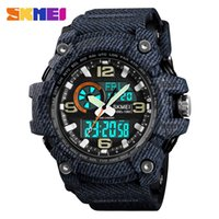 Wholesale skmei watch branded resale online - SKMEI Top Brand Luxury Sport Watch Men Military Bar Waterproof Quartz Watches Dual Display Wristwatches relogio masculino