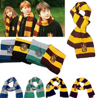 Wholesale harry potter scarves cotton resale online - Fashion Colors College Scarf Harry Potter Gryffindor Series Scarf With Badge Cosplay Knit Scarves Halloween Costumes Woman Man