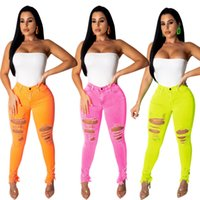 ingrosso rosa pulsanti-Donna Vintage Jeans Solido Sexy Denim Button Hole Tasca strappata Skinny Capri Capri Nine Long Pants Rosa Arancione Giallo