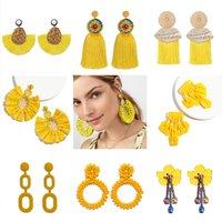 ingrosso orecchini di cristallo giallo del branello-Orecchini pendenti in argento con fiore di cristallo giallo con nappe per le donne