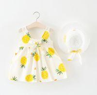 bebek kızları için yeni stil elbiseler toptan satış-Yaz yeni yelek etek kadın bebek Avrupa ve Amerikan tarzı elbise kız moda prenses elbise hasır şapka nesil göndermek