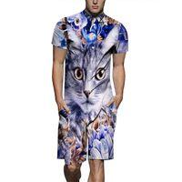 цветок шорты мужчины оптовых-2019 New Men's Short One Piece Romper Playsuits Man Short Sleeve Button Shorts Jumpsuits Flower Cat 3 D Printed Shirts