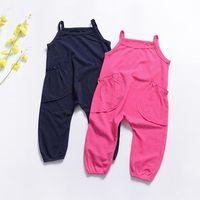 büyük bebek pantolon toptan satış-Bebek Kız Kaşkorse Tulumlar Çocuklar Yuvarlak Yaka Tulumlar Iki Büyük Cepler Kolsuz Kauçuk Pantolon Tek parça Konfeksiyon 32