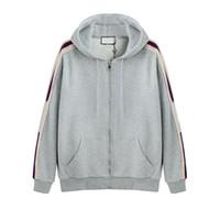 zip up hoodies kleidung großhandel-2018 Grau Luxus Italien Designer Fashion Brand New HOODED ZIP-UP SWEATSHIRT MIT Logo STREIFEN Männer Hoodies Frauen Sweatshirts Mann Kleidung