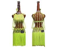 e32eb47ea6825 Strass Brillant Danse Latine Robe Femmes Compétition Costumes De Mode Ms  Fluorescent Jaune Drill Strip Gland Salsa Jupe