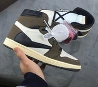 erkekler için kahverengi ayakkabı toptan satış-2019 EN IYI Yeni 1 yüksek og yeşil kahverengi Düşük erkekler basketbol ayakkabı spor sneakers eğitmenler en kaliteli boyutu 7-13