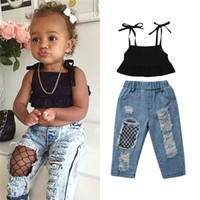 модные сетчатые топы оптовых-1-6Years Kids Baby Girls Summer Outfits Fashion Party Clothes Sleeveless Black Vest Crop Tops+Fish Net Denim Pants 2Pcs Sets
