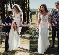 Wholesale burgundy dress chiffon sleeve resale online - Rustic Country Mermaid Wedding Dresses with Long Sleeves Illusion Bodice Bohemian Lace Beach Wedding Bridal Gowns Custom Robe de mariée