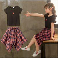 платье для девочки оптовых-Корейская детская одежда летние девушки костюм юбка мода прилив модели большой мальчик принцесса платье хлопок из двух частей