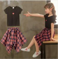 vestidos de menina menino modelo venda por atacado-Meninas coreanas de roupas de verão terno saia modelos de maré moda menino grande princesa vestido de algodão de duas peças