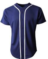 mangas de nylon venda por atacado-Mens 2019 Baseball Team Jersey botão para baixo camisetas planície manga curta Top navy / Whitejerseys