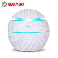 USB White wood Diffuser Ultrasonic Cool Mist Humidifier Air Purifier 7 Color Change LED Night light for Office Home