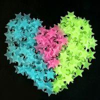 baby dekorative wandaufkleber großhandel-3D-Star Leuchtstoff Leuchtende Wandaufkleber Sterne PVC Dekorative Wandtattoo Kinder Baby Zimmer Dekoration Aufkleber WWA107