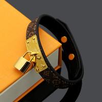 lederarmbandschloss großhandel-Hochwertiges Lederarmband mit Vorhängeschloss Markenname Frauen Armband geniune Leder Hochzeitsschmuck PS6228