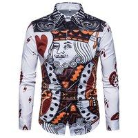 новая модная мужская рубашка оптовых-Горячая 2019 Новый Тонкий мужская рубашка Ретро Цвет 3D Покер печати Мода повседневная одежда мужчин с длинными рукавами рубашки мужские рубашки медузы оптом
