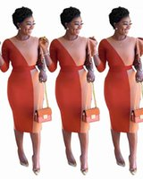 Wholesale dresses side panels resale online - Panelled Slim One Side Long Sleeved Crew Neck Bodycon Dresses Womens Party Dresses Elegant Evening Formal Dresses Autumn Two colors