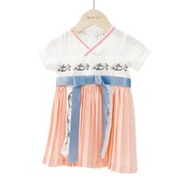 Wholesale floral cotton frock online - Chinese Embroidery Party Dress For Baby Girl Costume Summer Kid Prom Floral Party Princess Frock Children Back To School Festive Bow Dress