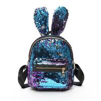 mochilas princesas al por mayor-Baby Girls Lentejuelas Dazzle Color Conejo Orejas Largas Mochila Adorable Kids Princess Glittering Kindergarten School Bags 3D bolsa de peluche
