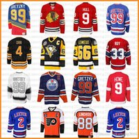 hockey jerseys оптовых-топ 99 Уэйн Гретцки 66 Марио Лемье 9 Бобби Халл хоккей Джерси 9 Горди Хоу 4 Бобби Орр 33 Патрик Рой 88 Эрик Линдрос Литч Мессье