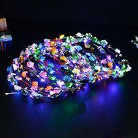 головные уборы для девочек цветов оптовых-Светящиеся светодиодные струны Glow Flower Crown Повязки Light Party Rave Цветочные гирлянды для волос Светящийся венок Свадебные игрушки для девочек-цветочниц