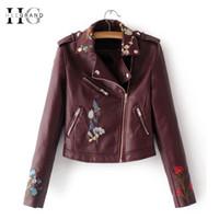 cortavientos rojo al por mayor-HEEGRAND Bordado Faux Leather Coat Motocicleta Cremallera Vino Rojo PU chaquetas Mujeres Windbreak Punk Outerwears Chaqueta de invierno WWP207