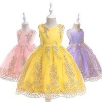 летние золотые платья для детей оптовых-2019 лето новые дети платье принцессы летние дети кружева тюль театрализованное платье девушки цветка золотая марля цветочные вышивки вечернее платье