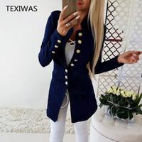 weibliche arbeitsanzüge großhandel-TEXIWAS Anzugjacke Weibliche Blazer Frauen Einreiher Strickjacke Frauen Blazer Dünne Mäntel Tops Büro Lady Elegant Work Blazer