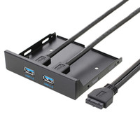 гибкая передняя панель оптовых-Флоппи-диск USB 3.0 20-контактный 2 порта Передняя панель Отсек Кронштейн Кабель
