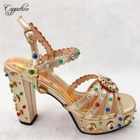 altın topuklu sandalet akşam toptan satış-Akşam parti için güzel dekorasyonu ile zarif yüksek topuk sandalet ayakkabı altın CFS12, size38-42