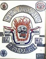parches de moto cool al por mayor-Cool DÓVILES ADVOCADOS Club de motos Patch MC Hot bordado Full Back Patrón grande para Rocker Biker Chaleco Parches para ropa