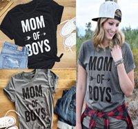 aile kıyafeti gömlek toptan satış-Anne Kız Kadınlar Ins Sıcak Yaz Kısa Kollu T Shirt Aile Kıyafetler Giyim Giyim için 2018 MOM BOYS OF Mektupları Baskı Tişörtlü