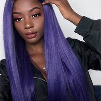 Wholesale human hair purple lace front wig for sale - Group buy Purple Color Deep Part Lace Front Human Hair Wigs Brazilian Remy Hair Full Lace Wig with Pre Plucked Hairline Bleached Knots