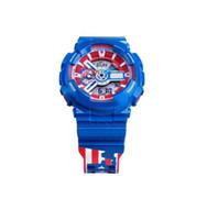 amerika sehen großhandel-Der Marvel Designer der heißen verkaufenden Männer passt alle Zeiger-Arbeitsselbstlicht-wasserdichte LED-Uhren Captain America Clock Relogio Masculino auf