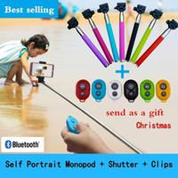 self portre selfie el çubuğu toptan satış-2019 Noel Hediyesi Uzatılabilir El portre Monopod özçekim sopa Fotoğraf Bluetooth Deklanşör Kamera monpod + bluetooth deklanşör + Klipler