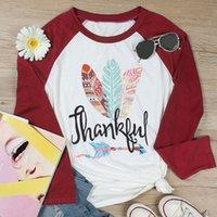 beyzbol gömlek uzun kollu toptan satış-2018 Sonbahar Kadın T-Shirt Uzun Kollu Müteşekkir Renkli Tüy Baskı O-Boyun Beyzbol T-Shirt Rahat Kadın Bayanlar Tops