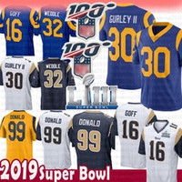 Wholesale football jerseys 99 resale online - 30 Todd Gurley Aaron Donald St louis Jersey Rams Jared Goff Eric Weddle Super Bowl LIII patch color rush Football Jerseys new