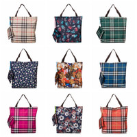 bolsas de supermercado envío gratis al por mayor-2019 New Lady Foldable Recycle Shopping Bag Eco Reutilizable Shopping Tote Bag Cartoon Floral Fruit Vegetable Grocery Envío gratis