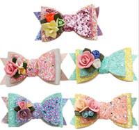 flores para barrettes venda por atacado-5 cores da menina do cabelo Acessórios de Cabelo Princesa Lantejoulas Estéreo presilhas barrettes bonito crianças menina moda arco presilhas navio livre