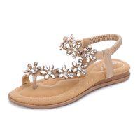 2019 Bohemian Summer Shoes Sweet Womens Flowers Flat Sandals High Quality Rhinestones Casual Flats Plus Size 35 42 Sandalias25