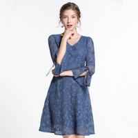 robes coréennes plus achat en gros de-KMETRAM Vintage Dentelle Élégante Dress Femmes Vêtements 2019 Printemps Été Korean Party Dress Femmes Robes Plus La Taille Vestidos MY2756