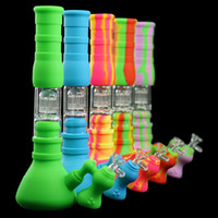 Wholesale Three layer filtration beaker bongs Portable silicone water pipe oil dab rig with glass filter bowl for smoke unbreakable