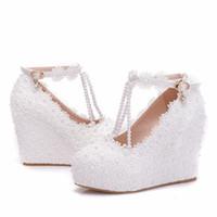 клинья невесты оптовых-Туфли на танкетке белые кружевные свадебные туфли на платформе 11см Женщины Высокие каблуки Свадебные туфли Сладкие кружевные туфли для подружек невесты