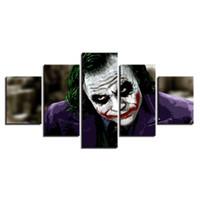 ingrosso tela classica di pittura ad olio-5 Pz Combinazioni HD Cool Classico Joker scuro Senza cornice Tela Pittura Decorazione murale Poster Stampato Pittura a olio