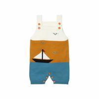 uma peça de barco venda por atacado-Novo Bebê Meninos e Meninas Romper Crianças Malha Barco Suspender One Piece Macacão Moda Roupas de Criança