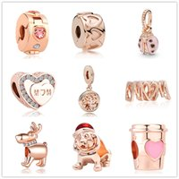 Wholesale pandora charms mom for sale - Group buy MOQ rose gold MOM ladybug family tree cup reindeer charm bead fit Original Pandora Bracelet Jewelry DIY for women J006