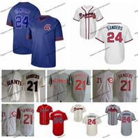 ingrosso sanders rossi-Vintage Atlanta 24 Deion Sanders Braves maglie da baseball Mens Giants SF Cream Cincinnati Deion Sanders 21 Reds cucita Baseball camicie