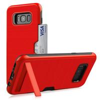 стойка для бампера оптовых-Ударопрочный чехол для Galaxy S8 Case жесткий PC стенд слот для карты TPU мягкий защитный бампер резиновая крышка Samsung S8 Plus