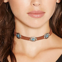 Wholesale black leather briefs for sale - Group buy Bohemia Chokers Necklaces for Women Vintage Brief Turquoise Stone Flower Alloy Suede Chocker Black White Brown Color Beach Party Jewelry
